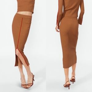 Zara Tan Fitted Ribbed Front Slit Midi Skirt